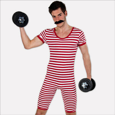 20er Years Swimsuit Funny Striped Swimsuit Red-White Männerbadeanzug L 52-54