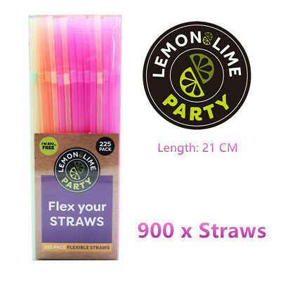 900 x Colourful Plastic Drinking Straws Flexible Straight Party Straw Disposable