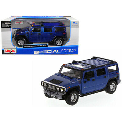New 2003 Hummer H2 SUV Blue 1/27 Diecast Model Car by Maisto 31231bl