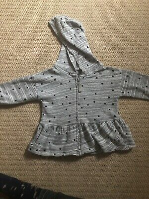 NEXT Girls, Grey Spot Zipped Hoody, Age 1-2**Good Condition**