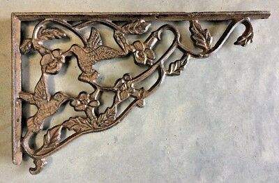 SET OF 2 LARGE HUMMINGBIRD SHELF BRACKET BRACE Rustic Antique Brown Cast Iron