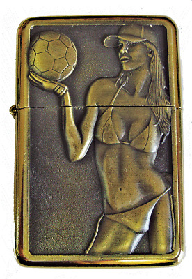 Personalised Engraved Gold VOLLEYBALL Refillable Star Petrol Lighter Gift him 22