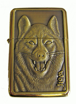Personalised Engraved Gold WOLF Star Refillable Petrol Lighter Gift Birthday 34