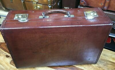 top quality beautiful vintage solid leather motoring travel weekend suitcase
