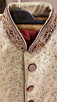 Sherwani - Mint With Gold And Red Details *See Details*