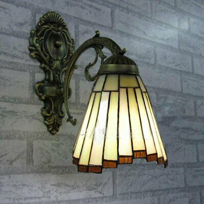 Bedroom Single Light Tiffany Style Stained Glass Sconce Wall Lamp Vintage light