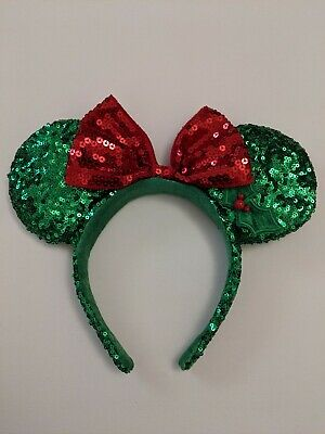 Disney Parks Minnie Mouse Christmas Holiday Bow Holly Sequin Green Ears
