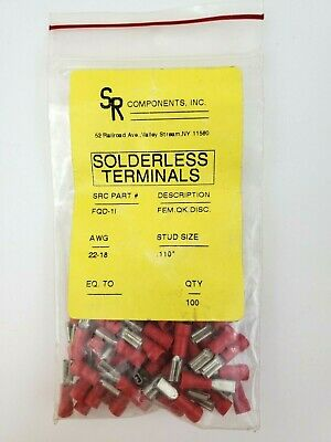 Bag of 67 SR Components FQD-1L Insulated Female Terminals 18/20 AWG .110 Stud