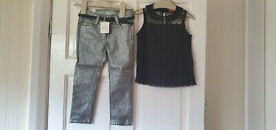 BNWT Girls Next Black Net Top and Metallic Silver Jeans Outfit 2-3 Years 3 yrs