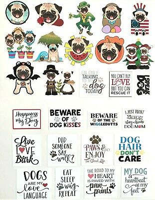 Fawn Pug 2020 Glossy Vinyl Planner Stickers