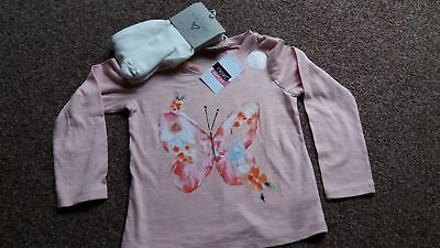 BNWT Girls Next Butterfly Top & Tights Outfit Set 2-3 Years