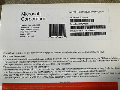 Microsoft Windows 10 Professional Pro Oem 32 64 Bit Dvd And Product Key Sticker