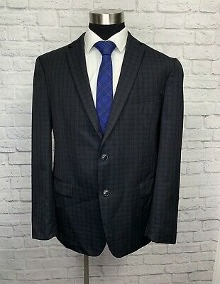 $425 DKNY Mens Charcoal Gray Check Wool Slim Fit Suit Jacket Sport Coat 44R