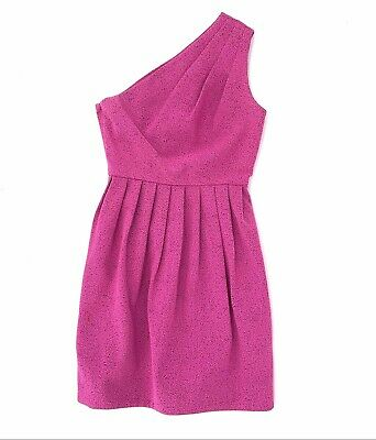 Halston Heritage Hot Pink One Shoulder Pleated Dress Textured Womens Size 6 EUC