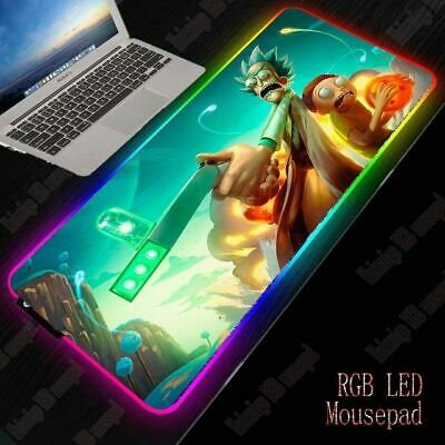 Rick and Morty RGB Computer Mousepad LED Backlight Gaming Mouse Pad Gamer Large