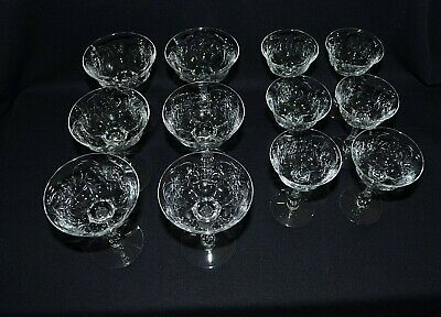 1930's Stunning Bohemia Vintage 6 Large & 6 Small Crystal Glass Wide Cup Goblets