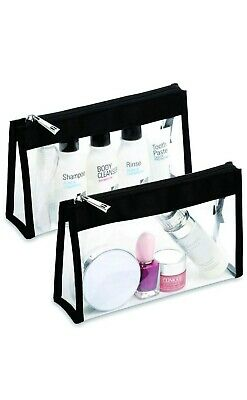 Clear Makeup bag Transparent toiletry bag with zipper, 2 pack