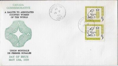 Canada FDC: 5¢ Country Women 1959 Windsor Cancel Cachet, Unaddressed FDC -Sc 385