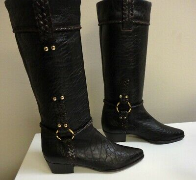 FENDI Chocolate Brown Pebbled Leather Casual Mid Calf Boots Size 37 B5125