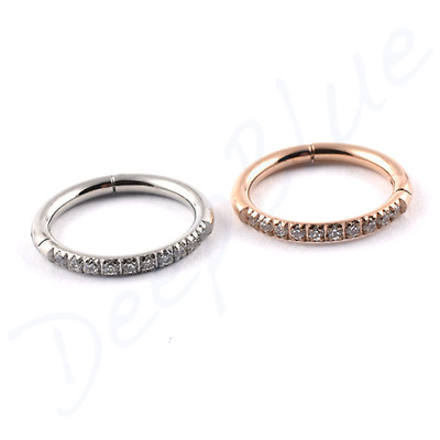 HINGED Micro SEGMENT RING Surgical Steel with HALF PAVE-SET CZ STONES Ear Bar