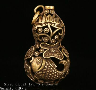 Unique Chinese Bronze Pendant Gourd Mascot Hollow-Out Handicraft Collection Gift