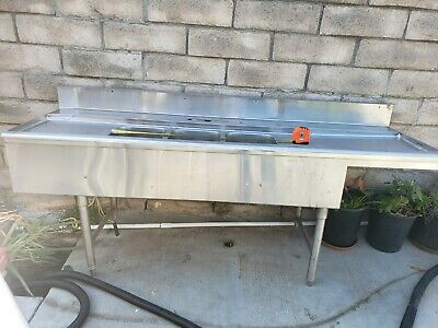 """NEW 50"""" Stainless Steel Sink 3 Compartment Commercial Kitchen Bar Restaurant NSF"""