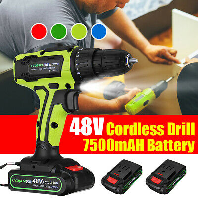 48V Electric Cordless Drill Impact Screwdriver 2 Speed LED Worklight 1~2 Battery