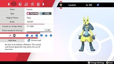 Shiny 6IV EV Trained Jolly Justified Lucario For Pokemon Sword/Shield + Item
