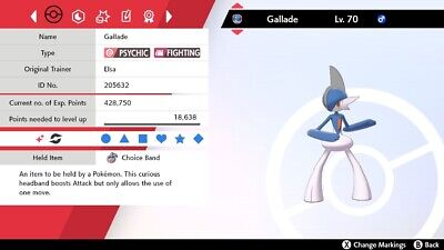 Shiny 6IV EV Trained Jolly Justified Gallade For Pokemon Sword/Shield + Item