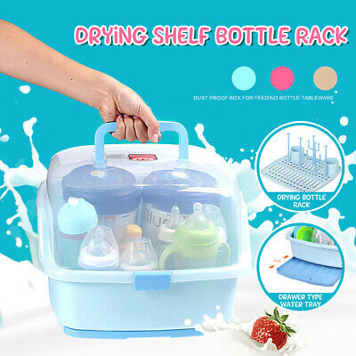 Baby Bottle Drying Rack Anti Dust Cover Nursing Storage Dinnerware Organizer
