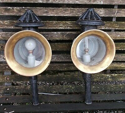 Pair of Antique Coach, Carriage Lamps Black/ Brass, French, Outdoor Sconces