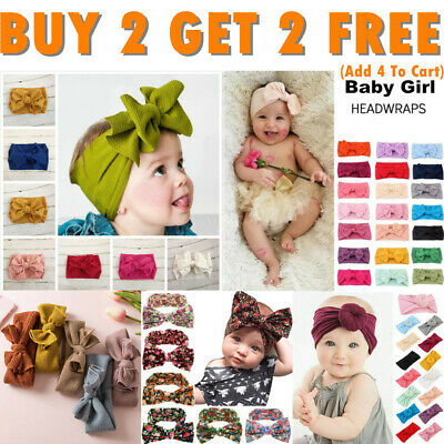Handmade Baby Girls Bow Knot Headband Turban Infant Toddler Hair Band Head Wrap