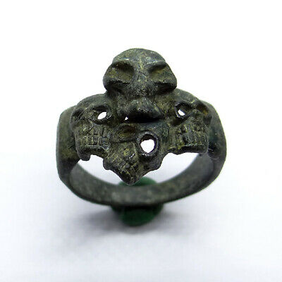 Roman Ancient Artifact Bronze Gladiator Ring With Skulls