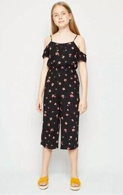 New Look - 915 Girls Black Floral Cold Shoulder Jumpsuit - Age 11 Years - BNWT