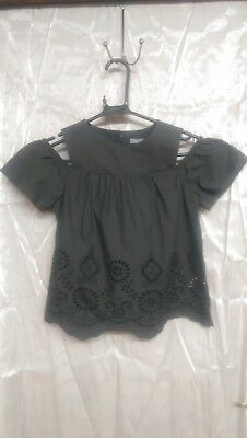 Next Girls Top Blouse Size 10 Years Black Brand New BNWT