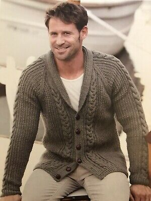 MS003 KNITTING PATTERN MEN'S CABLE AND RIB SWEATER IN DK SIZE 34-44