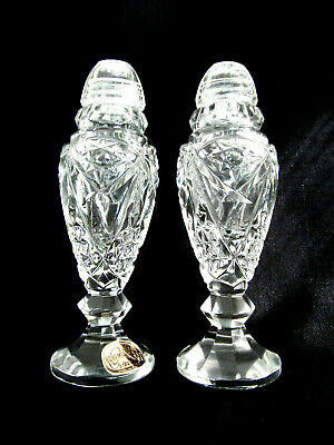 Pair of Bohemian Czech Cut Crystal Footed Salt & Pepper Vtg. Glass Top Shakers