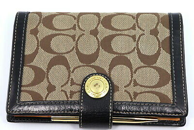 COACH Address Book Planner Cover Signature Leather Trim