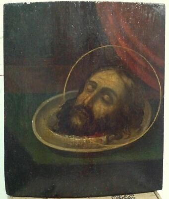 """Antique 19c Russian Orthodox Hand Painted Wood Icon """" Head of John the Baptist"""""""