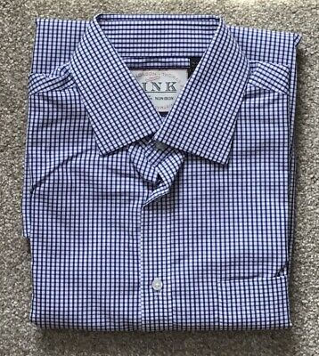 """Thomas Pink 16"""" Mens Cotton Long Sleeved Shirt Blue/white Check Classic Fit"""