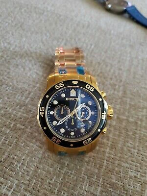 Invicta Men Pro Diver Scuba 18KT Gold Plated Stainless St Black Dial Watch