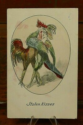 c1910 Anthropomorphic Metamorphic Rooster & Hen w/ Human Faces Kissing Postcard
