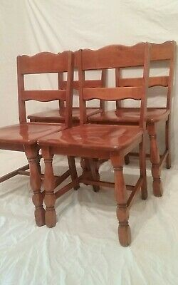 Vtg Set 4 Solid Maple Dining Chairs Farmhouse Country Colonial Ethan Allen