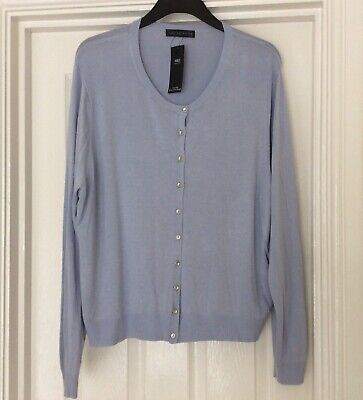 Pretty Marks And Spencer M&S Very Soft Pale Blue Cardigan Size 24 Bnwt Free P&P