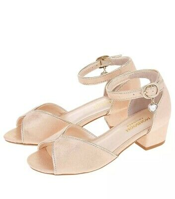 Monsoon Girls Block Heel Sandals Size 2 New With Tags RRP £25