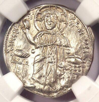 Andronicus II and Michael IX AR Basilicon Coin 1294-1320 AD - Condition NGC AU