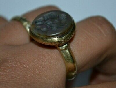 Stunning Extremely Rare Medieval Silver Seal Ring Sassanian King Gold Color Rare