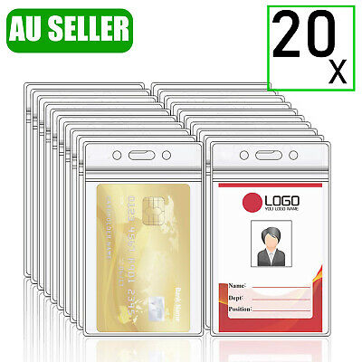20X Quality Vertical Clear Plastic ID CARD HOLDER POUCH Pass Lanyard BADGE Work