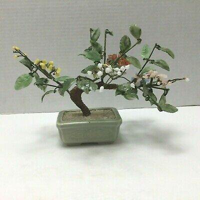 Vintage Glass Jade Style Bonsai Tree In Celadon Pot