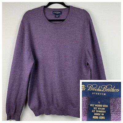 Brooks Brothers Men's Stretch Merino Wool Blend Crew Neck Sweater Purple Large L